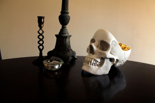 Skull Desk Tidy in situ
