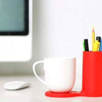 J-Me Jot Desk Coaster in Red