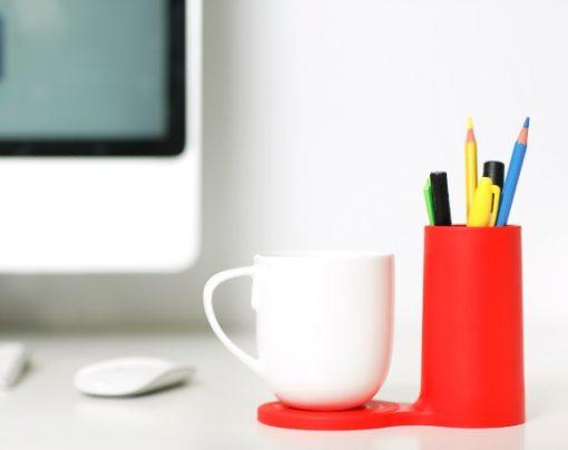 J-Me Jot Desk Coaster in Red