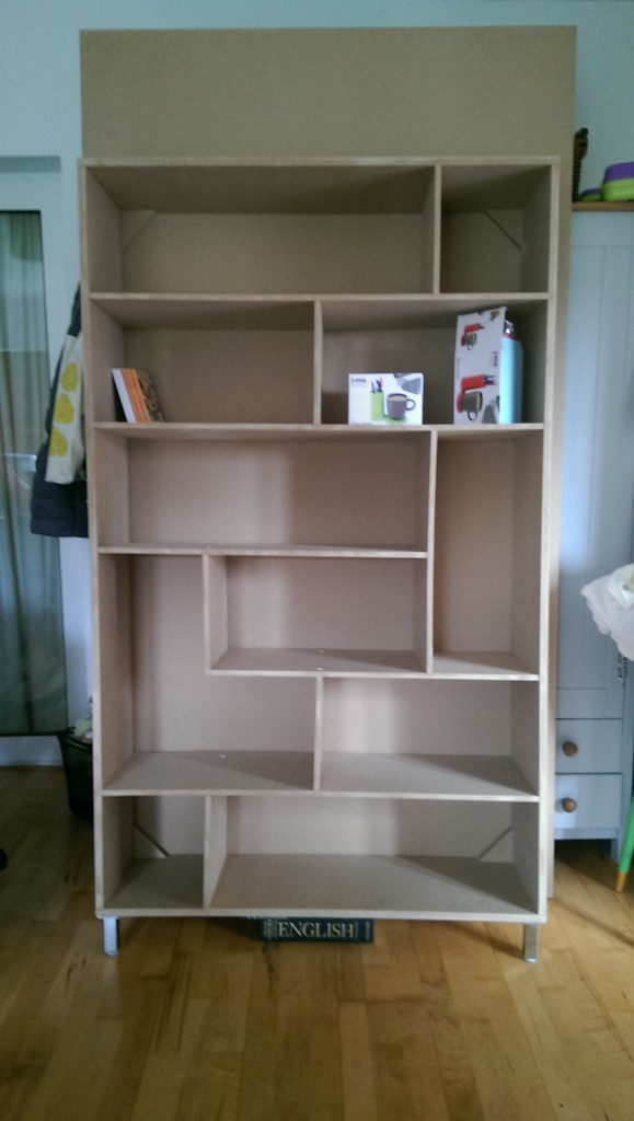 Gallery shelving unit in the raw