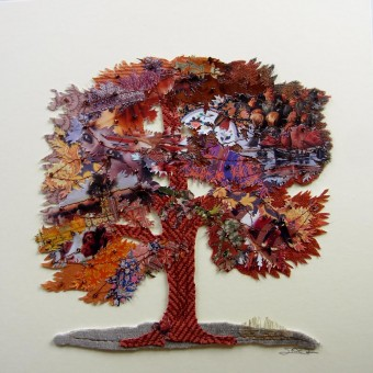 Elm, mixed media collage by Inez Streefkerk