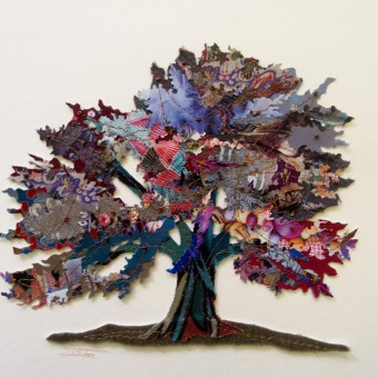 Oak, mixed media collage by Inez Streefkerk