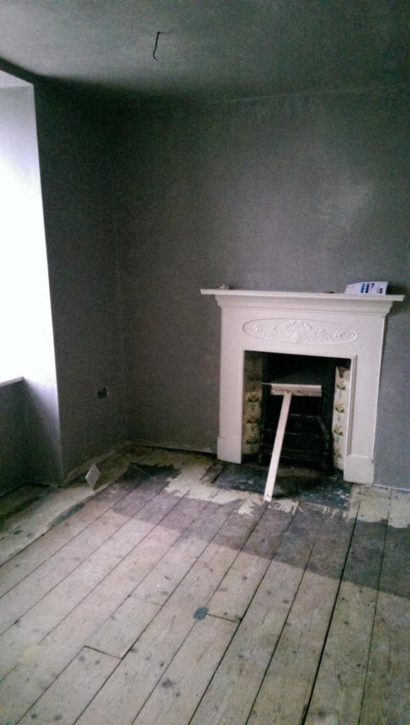 Upstairs room after the plastering