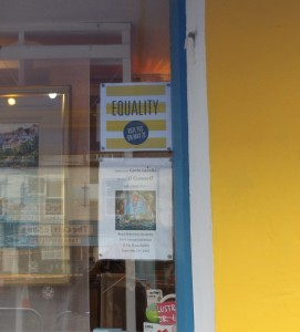 Lavelle Art Gallery window with YES equality sign