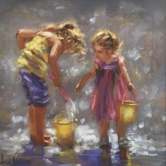 Sisters Playing by Ann Flynn
