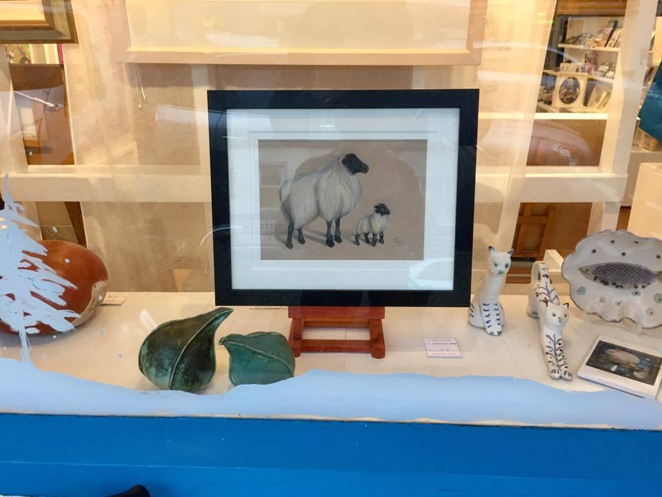 Evie's work in the gallery window