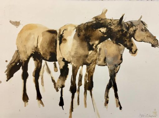 Three Standing in Sepia and Grey by Debi O'Hehir