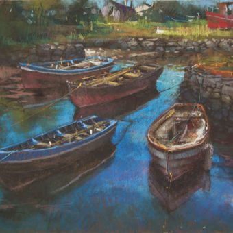 Four Boats at Old Harbour Roundstone by Dave West