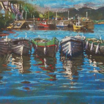 Boats in Line Roundstone by Dave West