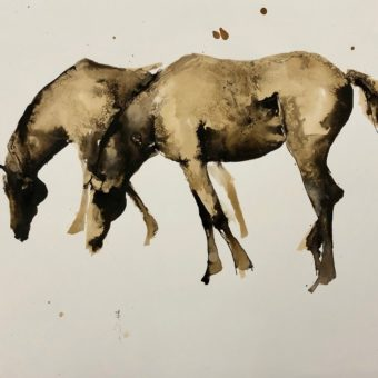Grazing Pair in Sepia by Debi O'Hehir