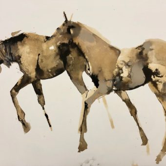 Two Walking in Sepia by Debi O'Hehir