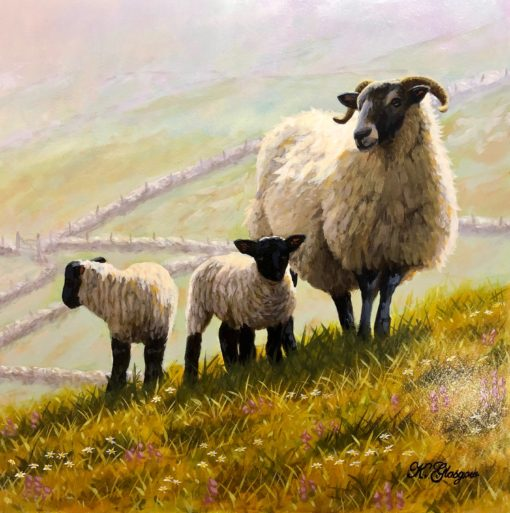 Ewe and Lambs on Hillside by Keith Glasgow