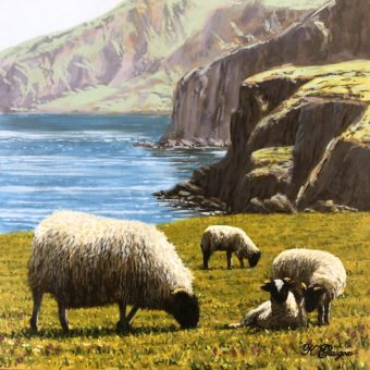 Sheep grazing by Cliffs by Keith Glasgow