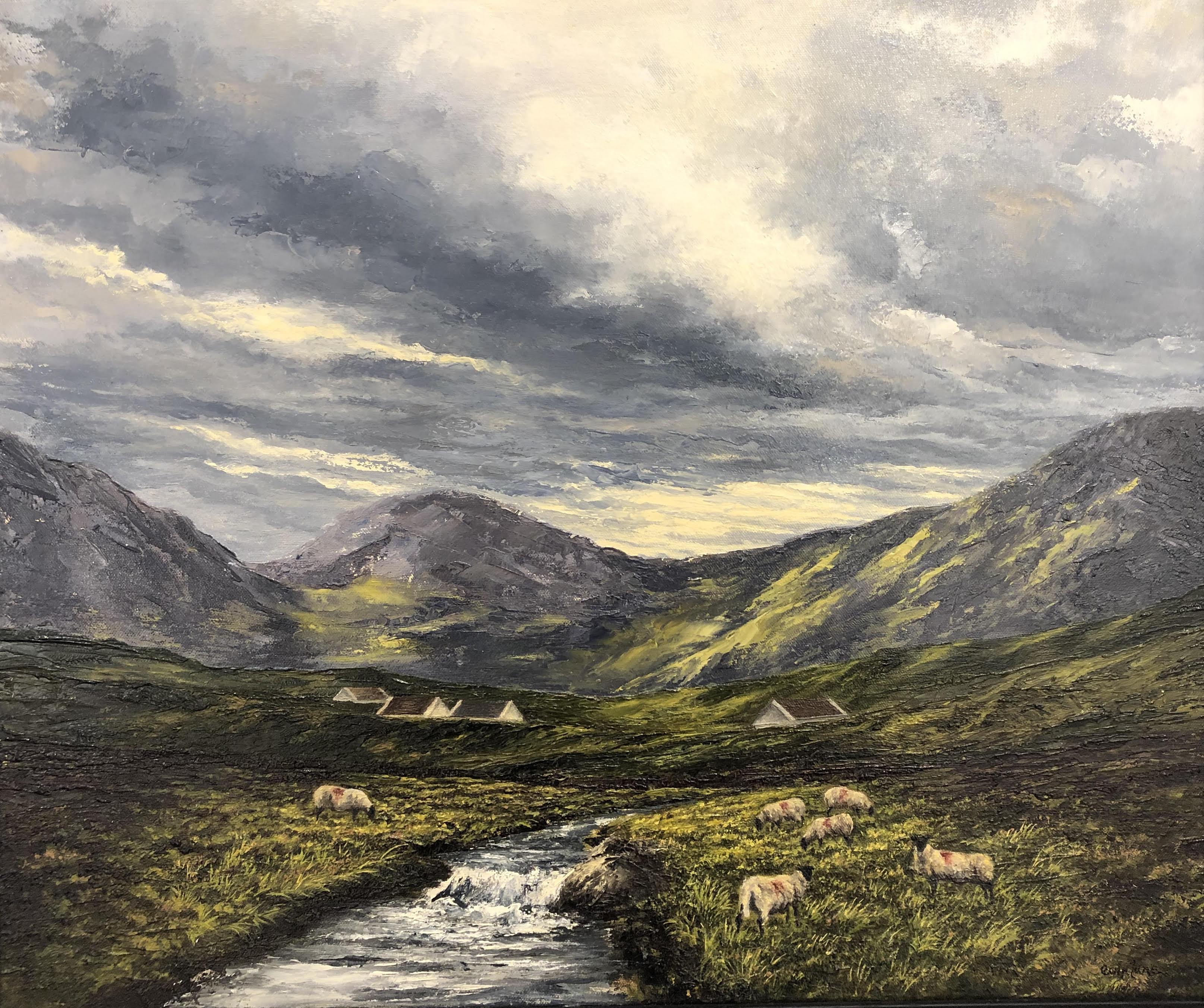 Sheep and Stream, Baunogue Bog, Rosleague by Eoin Lane