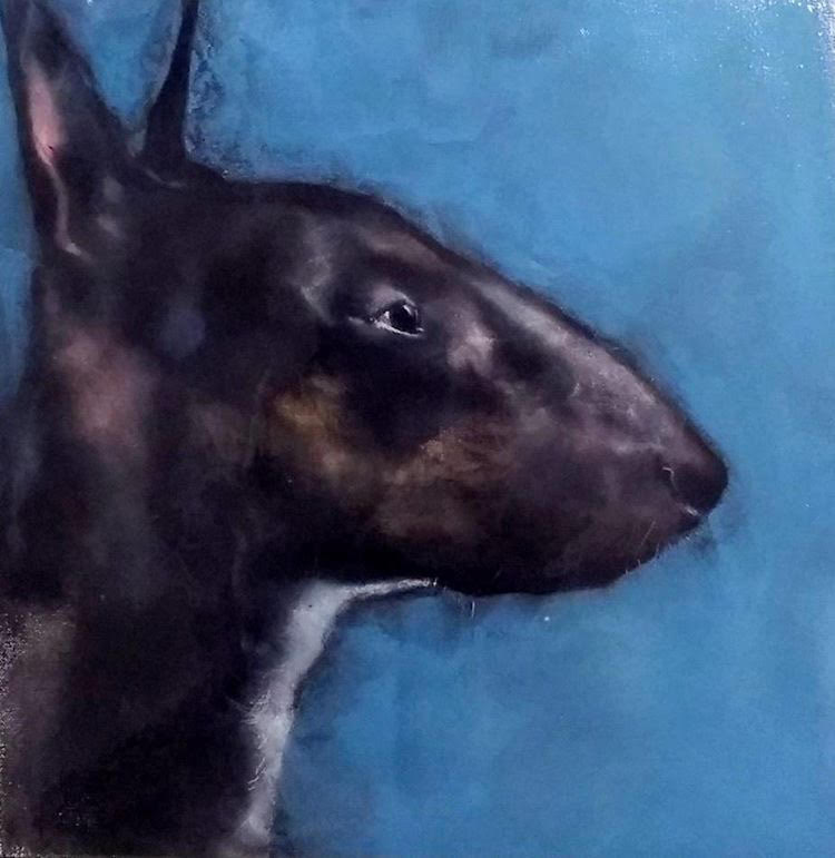 Bull Terrier on Blue by Heidi Wickham
