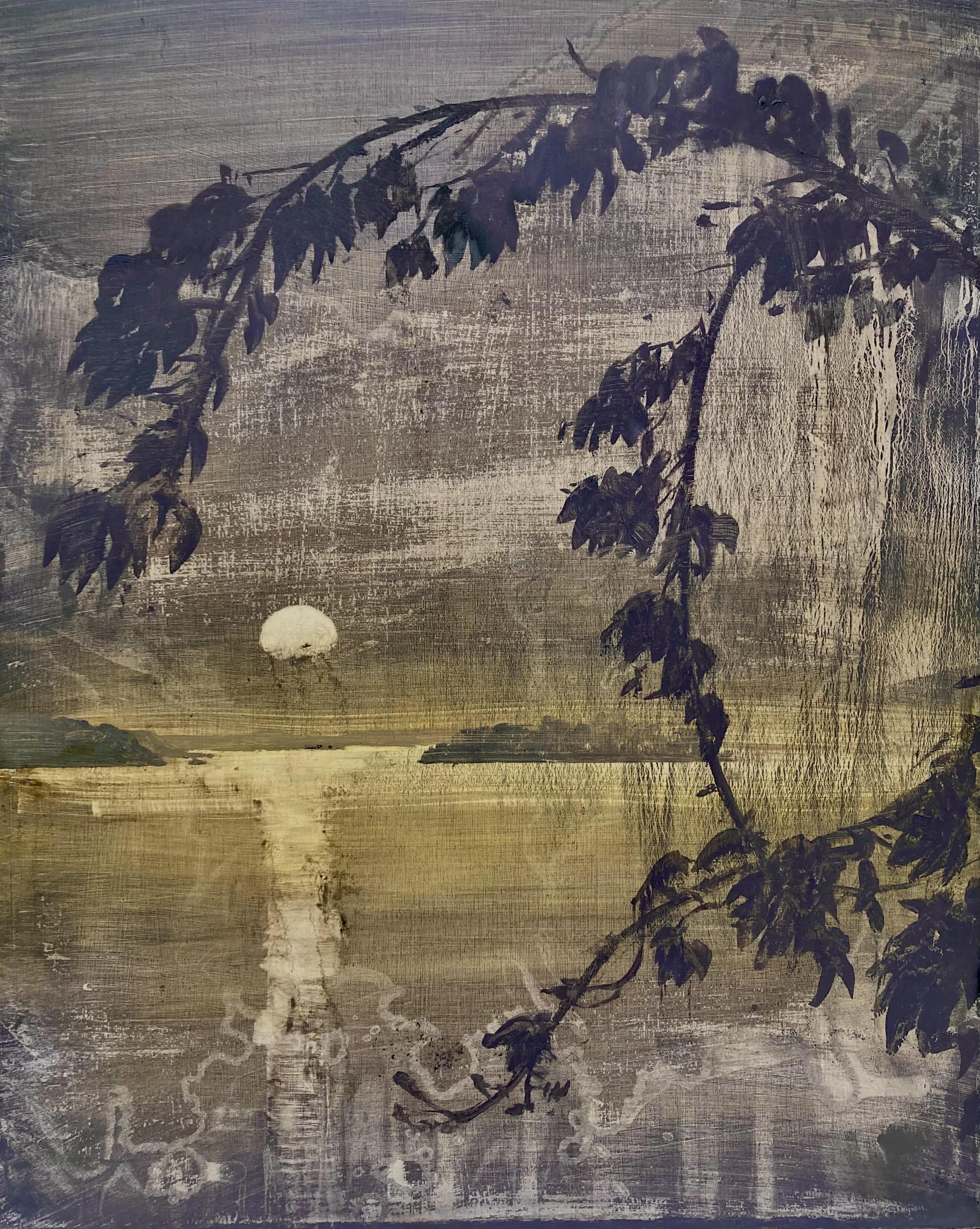 Lake islands - moonlight by David Smith
