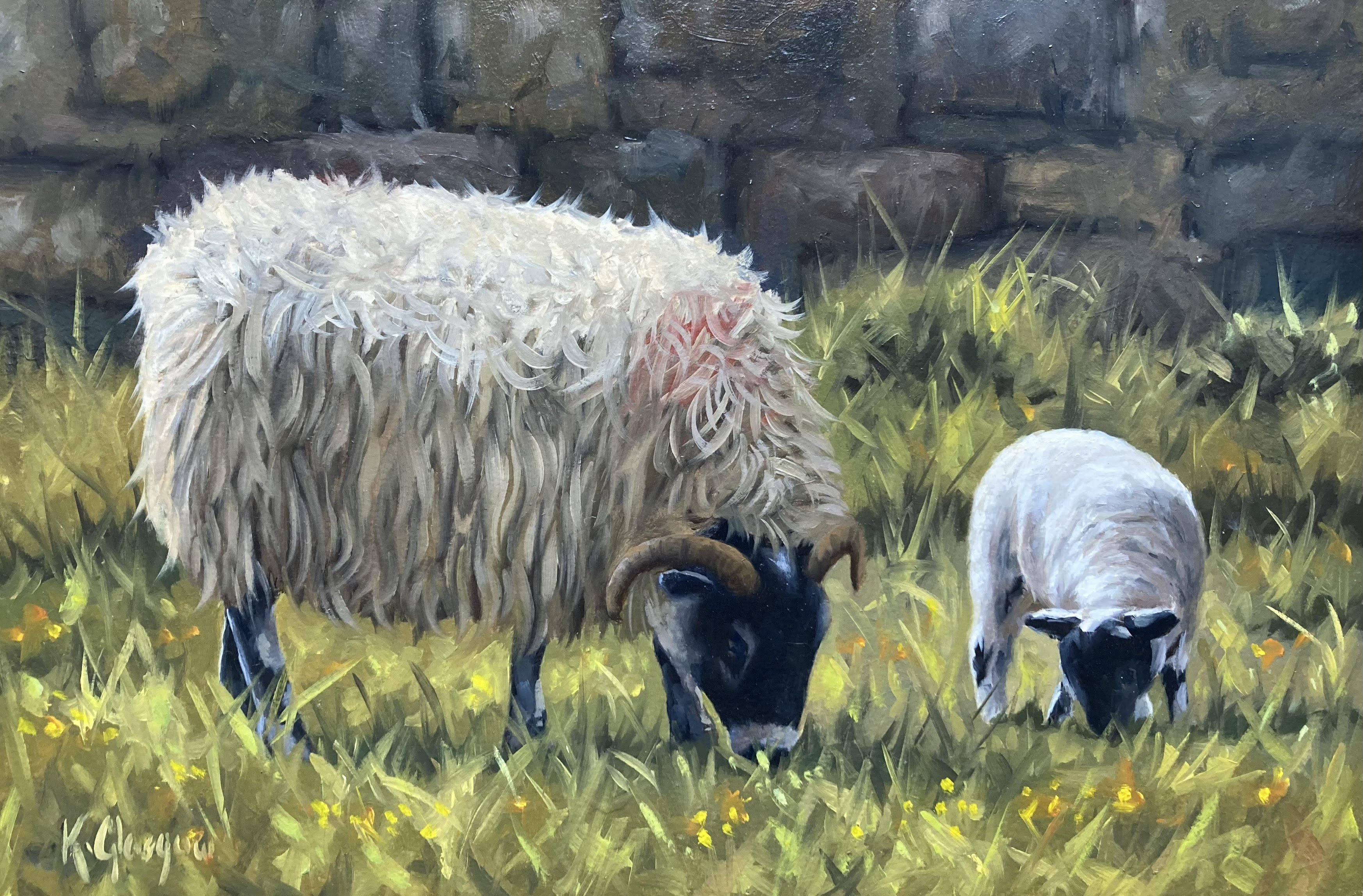 Ewe and Lambs 2 by Keith Glasgow