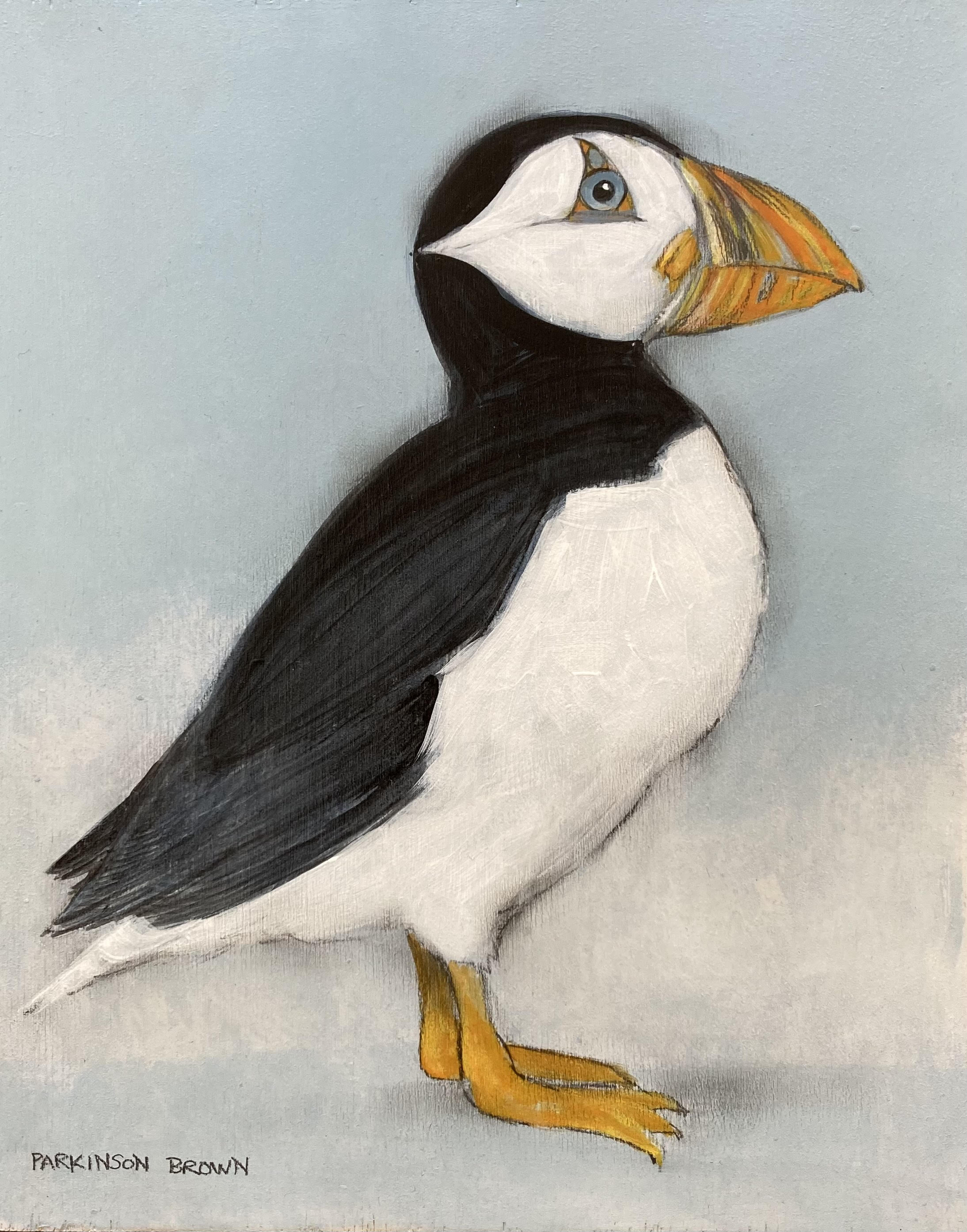 Puffin on Sky Blue II by Sylvia Parkinson Brown